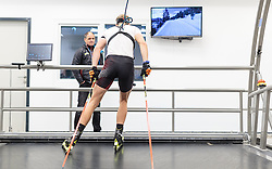 "02.11.2016, Biathlonarena, Hochilzen, AUT, IBU Weltmeisterschaft Biathlon, Hochfilzen, Pressekonferenz 100 Tage, im Bild Markus Gandler (Sportlicher Leiter Biathlon ÖSV) beim neuen Trainingslaufband // Markus Gandler (sports director biathlon ÖSV) at the new exercise treadmill during a Pressconference ""100 Days"" in front of the IBU Biathlon World Championships 2017 at the Biathlonarena, Hochfilzen, Austria on 2016/11/02. EXPA Pictures © 2016, PhotoCredit: EXPA/ JFK"