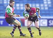 Twickenham, Surrey. UK.,12.01.2002, [L] Chris Bell, runs in to support, Nick Burrows, during the, Harlequins vs Bridgend, Heineken Cup Rugby match, played at the Stoop Memorial Ground, [Mandatory Credit: Peter Spurrier/Intersport Images],