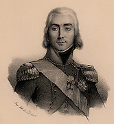 Jean Baptiste Bessieres, Duc d'Istrie (1786-1813).  French soldier, appointed Marshal of France 1804. Distinguished himself at Aboukir and Austerlitz (1805) and fought in the Peninsular and Russian campaigns.  Killed by a stray bullet on the eve of the Battle of Lutzen. Lithograph.