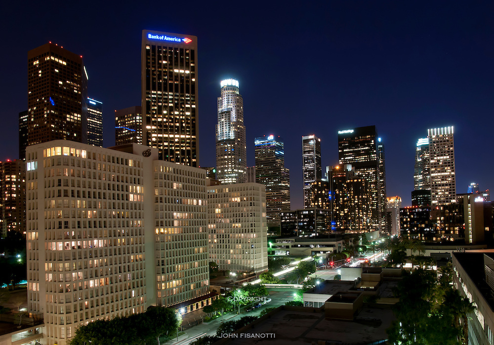 The city's financial district at twilight.