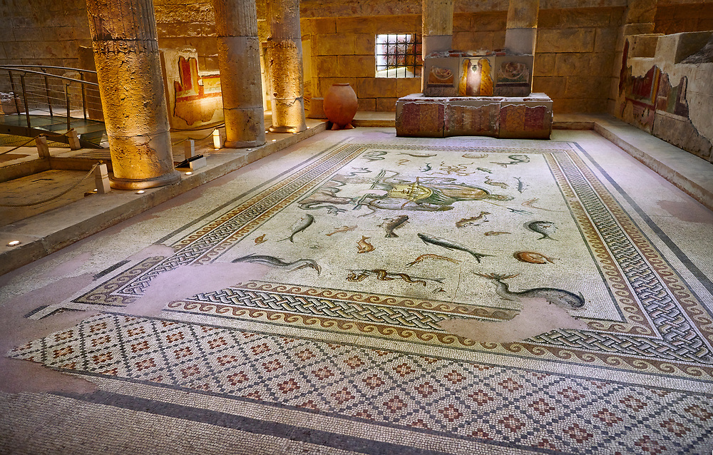 Roman mosaics - The Poseidon Mosaic. Poseidon Villa Ancient Zeugama, 2nd - 3rd century AD . Zeugma Mosaic Museum, Gaziantep, Turkey. .<br /> <br /> If you prefer to buy from our ALAMY PHOTO LIBRARY  Collection visit : https://www.alamy.com/portfolio/paul-williams-funkystock/roman-mosaic.html - Type -   Zeugma   - into the LOWER SEARCH WITHIN GALLERY box. Refine search by adding background colour, place, museum etc<br /> <br /> Visit our ROMAN MOSAIC PHOTO COLLECTIONS for more photos to download  as wall art prints https://funkystock.photoshelter.com/gallery-collection/Roman-Mosaics-Art-Pictures-Images/C0000LcfNel7FpLI