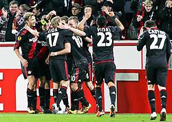 10.03.2011,  BayArena, Leverkusen, GER, UEFA EL, Bayer Leverkusen vs Villarreal C.F. , Achtelfinale, im Bild: Torjubel / Jubel nach dem 1:0 durch Michael Kadlec (Leverkusen #24) (M)   EXPA Pictures © 2011, PhotoCredit: EXPA/ nph/  Mueller       ****** out of GER / SWE / CRO  / BEL ******