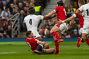 Twickenham, England, 7th March 2020, Maro ITOJE, tackled by [L] Tomos WILLIAMS, and [R] Leigh HALFPENNY,  during the  Guinness Six Nations, International Rugby, England vs Wales, RFU Stadium, United Kingdom, [Mandatory Credit; Peter SPURRIER/Intersport Images]
