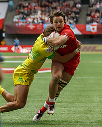 March 10, 2018 - Vancouver, British Columbia, U.S. - VANCOUVER, BC - MARCH 10: Pat Kay (#10) of Canada fights of a tackle to score during Game # 7- Australia vs Canada Pool A match at the Canada Sevens held March 10-11, 2018 in BC Place Stadium in Vancouver, BC. (Photo by Allan Hamilton/Icon Sportswire) (Credit Image: © Allan Hamilton/Icon SMI via ZUMA Press)