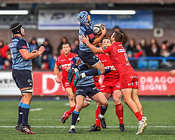 Cardiff Blues' Matthew Morgan claims the high ball - Mandatory by-line: Craig Thomas/Replay images - 31/12/2017 - RUGBY - Cardiff Arms Park - Cardiff , Wales - Blues v Scarlets - Guinness Pro 14
