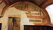 Mural depicting the last supper at the Basilica of San Francesco Assisi, Umbria, Italy