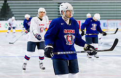 Andrej Hebar during practice session of Slovenian National Ice Hockey team first time in Arena Stozice before 2012 IIHF World Championship DIV I Group A in Slovenia, on April 13, 2012, in Arena Stozice, Ljubljana, Slovenia. (Photo by Vid Ponikvar / Sportida.com)