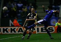 Photo: Steve Bond.<br /> Leicester City v Cardiff City. Coca Cola Championship. 26/11/2007. Darren Purse clears under pressure