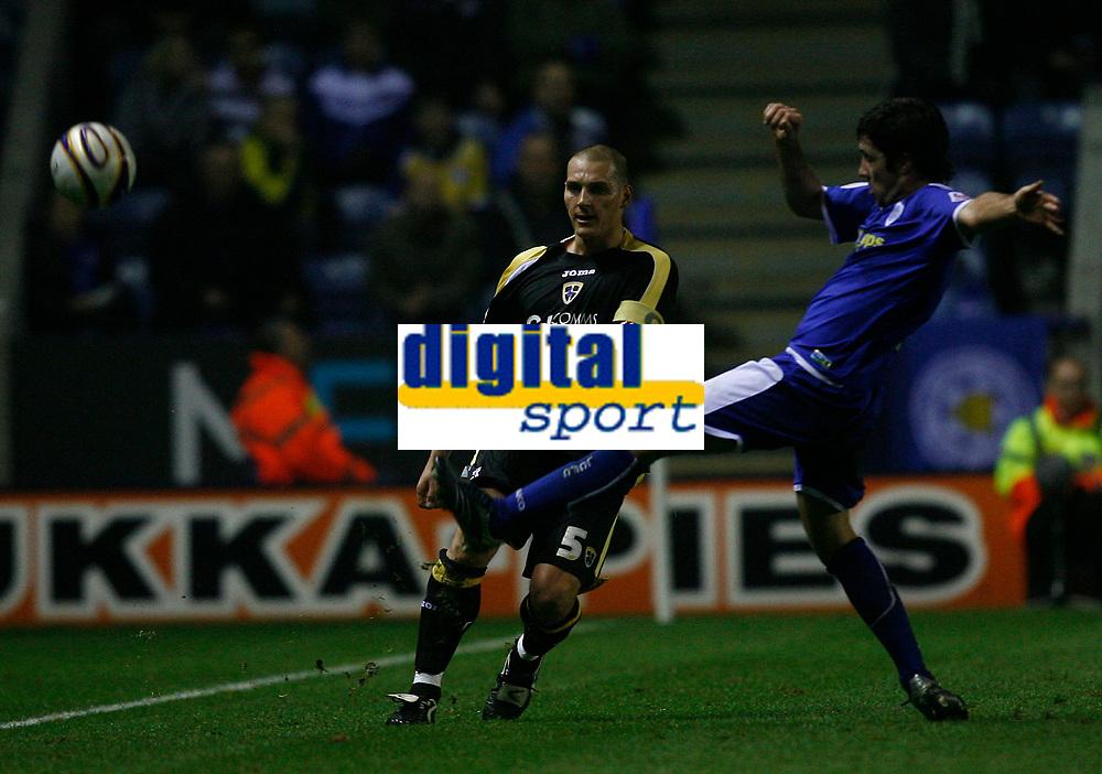 Photo: Steve Bond.<br /> Leicester City v Cardiff City. Coca Cola Championship. 26/11/2007. Darren Purse clears under pressure