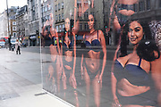 Photo of models of different sizes wearing underwear in the shop window of the adult goods and lingerie brand Ann Summers on 28th January 2021 in London, United Kingdom. Companies using larger models in their promotional images is far more common now as a more normal body image of women is being represented, and in particular is moving away from that of the more commonly used skinny or slim models.