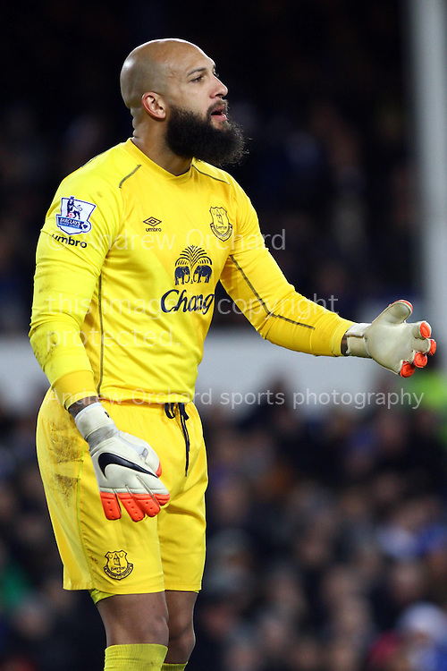 Everton goal keeper Tim Howard looks on. Barclays Premier league match, Everton v Queens Park Rangers at Goodison Park in Liverpool, Merseyside on Monday 15th December 2014.<br /> pic by Chris Stading, Andrew Orchard sports photography.