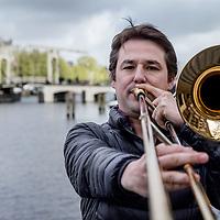 Nederland, Amsterdam, 13 april 2017.<br />Trombonist Jorgen van Rijen<br /><br /><br /><br />Foto: Jean-Pierre Jans