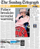 Sunday Telegraph Page One: The Queen watches the Highland Games at Braemar, Scotland, UK, on the 7th September 2013.<br /> <br /> Picture by James Whatling