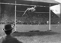 H902<br /> Aonach Tailteann Athletics - Croke Park. Osborne in high jump.  August 16 1928.  (Part of the Independent Newspapers Ireland/NLI Collection)