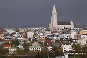 An view of the city of Reykjavik, the capital of Iceland. The National Cathedral dominates the skyline.