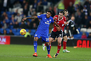 Nathaniel Mendez-Laing of Cardiff City (l)  holds off Jonas Knudsen of Ipswich Town.  EFL Skybet championship match, Cardiff city v Ipswich Town at the Cardiff city stadium in Cardiff, South Wales on Tuesday 31st October 2017.<br /> pic by Andrew Orchard, Andrew Orchard sports photography.