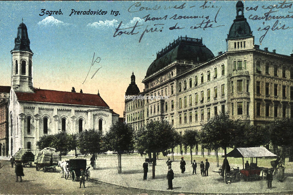 Zagreb : Preradovićev trg. <br /> <br /> Impresum[S. l. : s. n., poslije 1910].<br /> Materijalni opis1 razglednica : tisak ; 8,9 x 14 cm.<br /> Vrstavizualna građa • razglednice<br /> ZbirkaZbirka razglednica • Grafička zbirka NSK<br /> ProjektPozdrav iz Zagreba • Pozdrav iz Hrvatske<br /> Formatimage/jpeg<br /> PredmetZagreb –– Trg Petra Preradovića<br /> Jezikfrancuski • hrvatski<br /> SignaturaRZG-PRER-10<br /> Obuhvat(vremenski)20. stoljeće<br /> PravaJavno dobro<br /> Identifikatori000973839<br /> NBN.HRNBN: urn:nbn:hr:238:350751 <br /> <br /> Izvor: Digitalne zbirke Nacionalne i sveučilišne knjižnice u Zagrebu