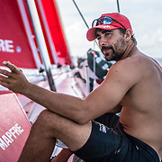 Leg 4, Melbourne to Hong Kong, day 16 on board MAPFRE, Guillermo Altadill. Photo by Ugo Fonolla/Volvo Ocean Race. 17 January, 2018.