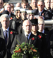 William Hague; Theresa May; Boris Johnson Remembrance Sunday - Cenotaph Service, Whitehall, London, UK. 13 November 2011. Contact rich@pictured.com +44 07941 079620 (Picture by Richard Goldschmidt)