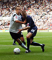 Photo: Kevin Poolman.<br />Derby County v Southend United. Coca Cola Championship. 30/09/2006. Derby's Morten Bisgaard and Peter Clarke (Southend) fight over the ball.