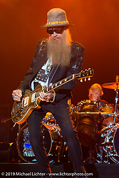 Billy Gibbons of ZZ Top plays on the Wolfman Jack stage at the Buffalo Chip Campground during the annual Sturgis Black Hills Motorcycle Rally. SD, USA. August 6, 2014.  Photography ©2014 Michael Lichter.