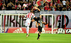 August 2, 2017 - Piraeus, Attiki, Greece - El Fardou Ben Nabouhane (no 31) of Olympiacos and Nemanja Miletic (no 26) of Partizan vindicate the ball during the game. (Credit Image: © Dimitrios Karvountzis/Pacific Press via ZUMA Wire)