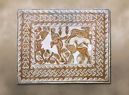 Roman mosaic depicting The Education of Achilles by the Centaur Chiron. Achilles , left, is depicted riding a centaur ( mosaic of its body s missing) and is about to kill a deer. In the bottom right hand corner is a Chimera was, according to Greek mythology, a monstrous fire-breathing hybrid creature of Lycia in Asia Minor, composed of the parts of more than one animal. The mosaic follows the story of Bellerophon who was a 'great slayer of monsters'. From Belalis Major (Henshir El-Fawar ) in the Beja region of Tunisia. Early 7th century AD.Roman mosaics from the north African Roman province of Africanus . Bardo Museum, Tunis, Tunisia. .<br /> <br /> If you prefer to buy from our ALAMY PHOTO LIBRARY  Collection visit : https://www.alamy.com/portfolio/paul-williams-funkystock/roman-mosaic.html - Type -   Bardo    - into the LOWER SEARCH WITHIN GALLERY box. Refine search by adding background colour, place, museum etc<br /> <br /> Visit our ROMAN MOSAIC PHOTO COLLECTIONS for more photos to download  as wall art prints https://funkystock.photoshelter.com/gallery-collection/Roman-Mosaics-Art-Pictures-Images/C0000LcfNel7FpLI