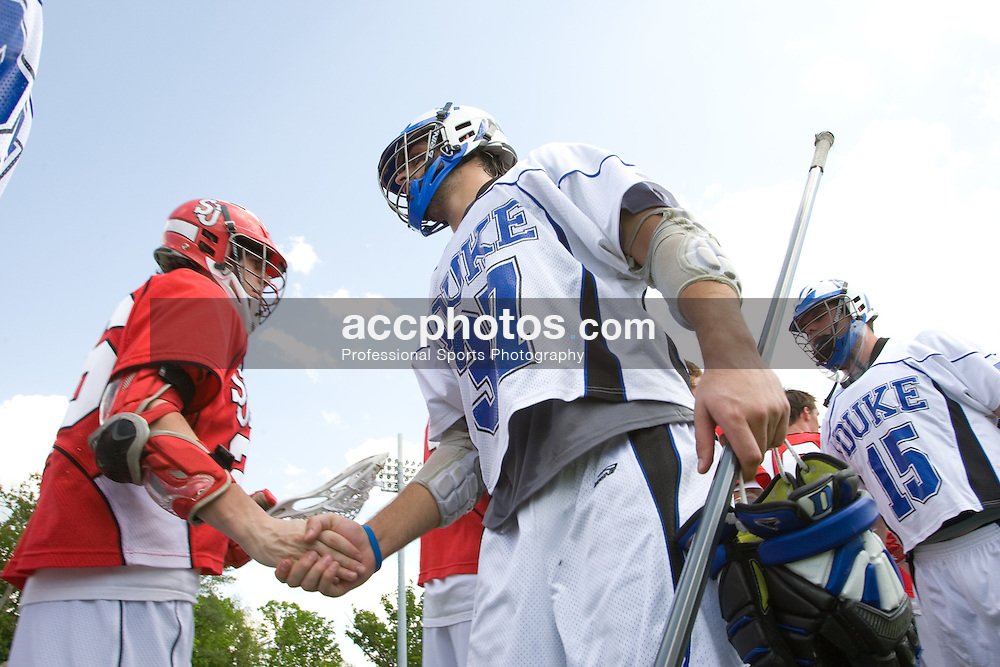 04 May 2008: Duke Blue Devils defenseman Mike Manley (37) in a 16-9 win over the St. John's Red Storm at Koskinen Stadium in Durham, NC