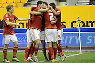 Nottingham Forest striker Dexter Blackstock celebrates goal during the Sky Bet Championship match between Wolverhampton Wanderers and Nottingham Forest at Molineux, Wolverhampton, England on 11 December 2015. Photo by Alan Franklin.