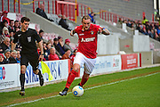Ebbsfleet United forward Danny Kedwell (9) in action during the Vanarama National League South match between Ebbsfleet United and East Thurrock United at the Enclosed Ground, Whitehawk, United Kingdom on 4 March 2017. Photo by Jon Bromley.