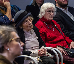 Pictured: 89 year old Mary Ross  (hat) has seen it all before and was interested in all opinions<br /><br />A week before Nicola Sturgeon is expected to demand a second independence referendum, Jackson Carlaw, Leader of the Scottish Conservatives gave a speech urging voters to back the Scottish Conservative and Unionist party and stop Indyref2. Ger Harley | EEm 5 December 2019