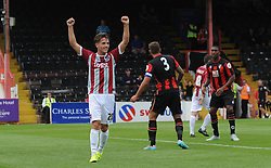 Exeter City's Tom Nichols celebrates as Exeter City's David Wheeler(not pictured) scores. - Photo mandatory by-line: Harry Trump/JMP - Mobile: 07966 386802 - 18/07/15 - SPORT - FOOTBALL - Pre Season Fixture - Exeter City v Bournemouth - St James Park, Exeter, England.