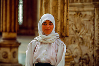 Egyptian woman wearing a headscarf, The Mosque of Muhammad Ali, The Citadel (Islamic Cairo), Egypt