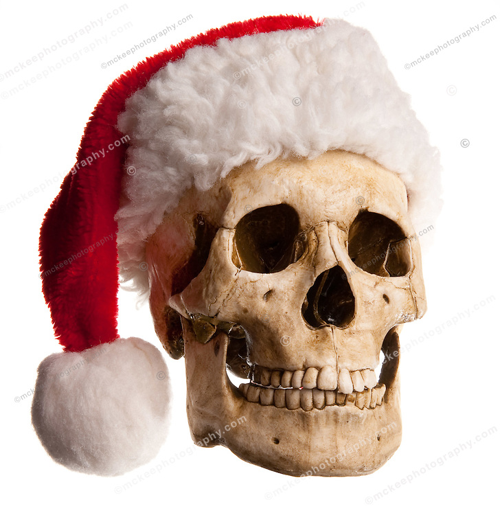 A front view of a bone skull with jaw, wearing a red santa claus or elf hat with white ball on end.