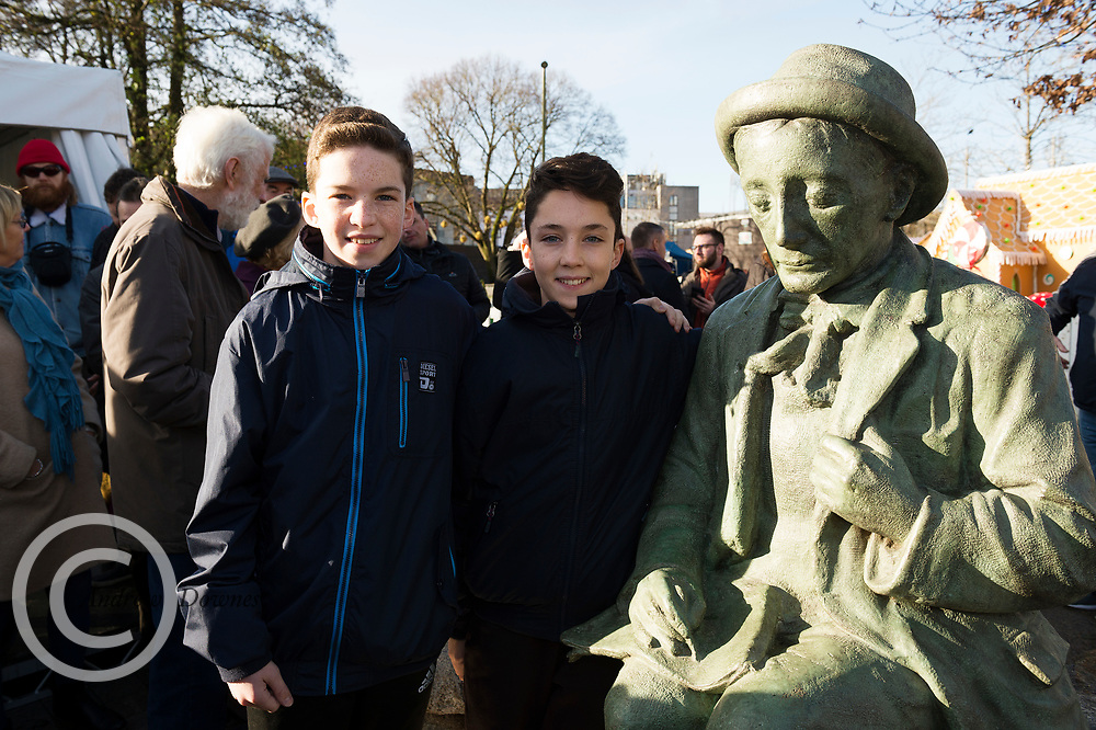 President Michael D Higgins who unveiled the Galway City Council's  newly commissioned bronze replica   of poet Padraic O'Conaire statue which has been place in Eyre Sq. Galway.  Phyliss Power wife on Noel Power who was the son of Albert Power  Photo:Andrew Downes