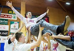 Dejan Mihevc, head coach of Tajfun celebrates after winning during basketball match between KK Tajfun and KK Rogaska in 4th Round of Final of Slovenian National Basketball Championship 2014/15, on May 28, 2015 in OS Hrusevec, Sentjur pri Celju, Slovenia. KK Tajfun won 3rd time and became Slovenian National Champion 2015. Photo by Vid Ponikvar / Sportida