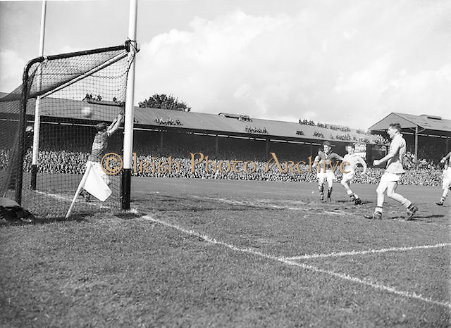 Ball flies into goal during the All Ireland minor Gaelic Football Final Dublin v Tipperary in Croke Park on 25th September 1955.