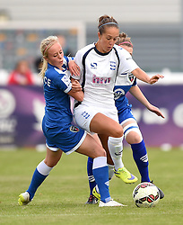 Nadia Lawrence and Frankie Fantom-Brown of Bristol Academy Women battle with Josanne Potter of Birmingham City Ladies - Mandatory by-line: Paul Knight/JMP - Mobile: 07966 386802 - 29/08/2015 -  FOOTBALL - Stoke Gifford Stadium - Bristol, England -  Bristol Academy Women v Birmingham City Ladies FC - FA WSL Continental Tyres Cup