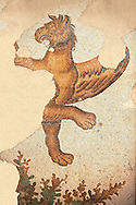 6th century Byzantine Roman mosaics of a mythical Griffin from the peristyle of the Great Palace from the reign of Emperor Justinian I. Istanbul, Turkey. .<br /> <br /> If you prefer to buy from our ALAMY PHOTO LIBRARY  Collection visit : https://www.alamy.com/portfolio/paul-williams-funkystock/great-palace-mosaic-istanbul.html<br /> <br /> Visit our ROMAN MOSAIC PHOTO COLLECTIONS for more photos to download  as wall art prints https://funkystock.photoshelter.com/gallery-collection/Roman-Mosaics-Art-Pictures-Images/C0000LcfNel7FpLI