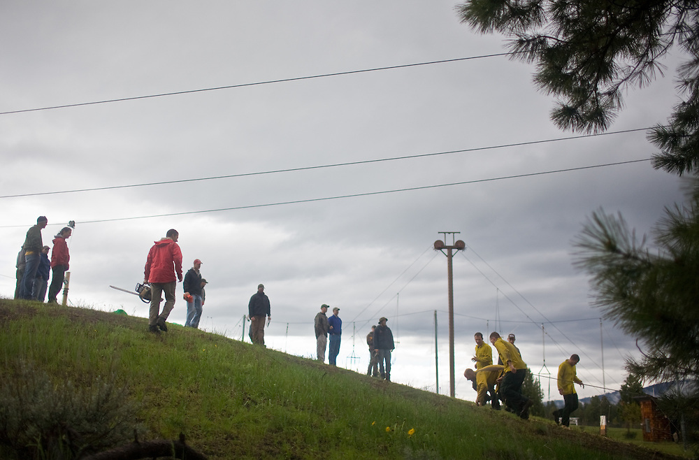 The final hill of the obstacle course at the McCall Smokejumper base in McCall, ID.