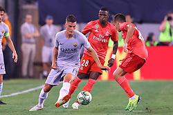 August 7, 2018 - East Rutherford, NJ, U.S. - EAST RUTHERFORD, NJ - AUGUST 07:  Roma forward Patrik Schick (14) watched by Real Madrid forward Vinícius Júnior (28) during the second half of the International Champions Cup game between Real Madrid and AS Roma on August 7, 2018, at Met Life Stadium in East Rutherford, NJ.  (Photo by Rich Graessle/Icon Sportswire) (Credit Image: © Rich Graessle/Icon SMI via ZUMA Press)