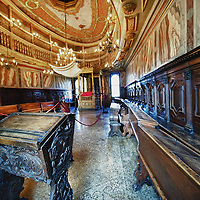 VENICE, ITALY - NOVEMBER 15:  A general view of tha main hall inside the Schola Tedesca  Synagogue established in 1529 on November 15, 2011 in Venice, Italy. Established in 1516 the Ghetto of Venice was the area were Jews were compelled to live during the Venetian Republic. The English term 'ghetto' is derived from the Venetian term for 'slag' and refers to the refuse left the foundry that was located on the same island. In present times the ghetto is a multi-ethnical area area seen as the cultural heart of the city, but with five synagogues remains the centre of the of Jewish community.