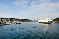 Ferry departing Friday Harbor San Juan Island Washington USA
