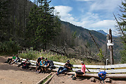 Hikers rest among deceased and dying spruce trees, near the top of Sarnia Skala, a mountain in the Tatra National Park, on 16th September 2019, near Koscielisko, Zakopane, Malopolska, Poland. The European spruce beetle (Ips typographus) is one of 116 bark beetles species in Poland which is killing thousands of spruces. The insect's population can grow rapidly via wind and snow etc. which eventually leaves a gap in the landscape, thereby changing the forest floor's ecology.