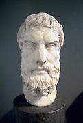 Epicurus (341-271 BC)  Ancient Greek philosopher. Founder of Epicurean school. Portrait bust. Roman copy of lost Greek original of 3rd or 2nd century BC