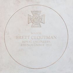 The London Borough of Haringey and representatives of the Armed Forces honour Lieutenant-Colonel Sir Brett Mackay Cloutman VC MC KC with the unveiling of the final London Victoria Cross Commemorative paving stone in Hornsey, London. November 06 2018.