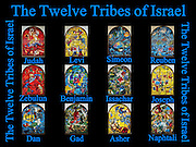 Collage The Twelve Tribes of Israel depicted in stained glass By Marc Chagall (1887 - 1985). The Twelve Tribes are Reuben, Simeon, Levi, Judah, Issachar, Zebulun, Dan, Gad, Naphtali, Asher, Joseph, and Benjamin.