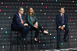 Bill Gates, Melinda Gates and President Emmanuel Macron speak at the Bill and Melinda Gates foundation's Goalkeepers event at Jazz at Lincoln Center in New York.