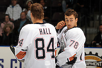 Jordan Eberle #78 lines up with Taylor Hall #84 of the Edmonton Oilers at the opening of the annual Vancouver Canucks Young Stars Tournament at the South Okanagan Event Centre in Penticton, B.C.  (Marissa Baecker/Shoot the Breeze)