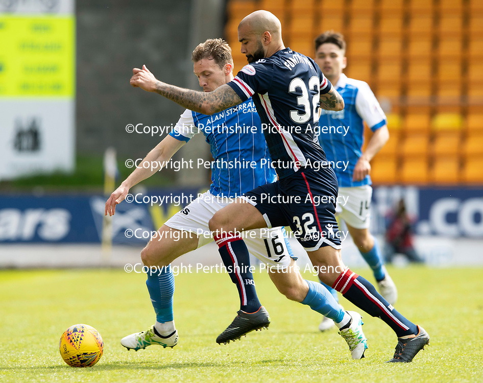 St Johnstone v Ross County…12.05.18…  McDiarmid Park    SPFL<br />David McMillan is tackled by Liam Fontaine<br />Picture by Graeme Hart. <br />Copyright Perthshire Picture Agency<br />Tel: 01738 623350  Mobile: 07990 594431